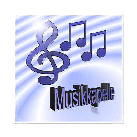 Band Music - 3D illustration, 3D Rendering: symbol image for music, entertainment and culture 스톡 콘텐츠