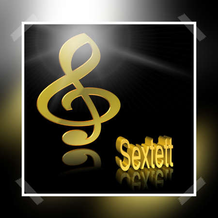 Sextet Music - 3D illustration, 3D Rendering: symbol image for music, entertainment and culture Stockfoto