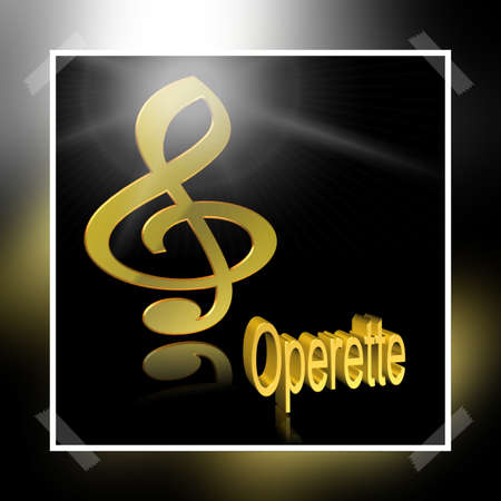 Operetta Music - 3D illustration, 3D Rendering: symbol image for music, entertainment and culture