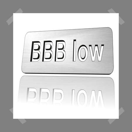 3D Illustration, 3D Rendering: rating or rating code for assessing the creditworthiness of a debtor; Code BBBlow Stock Illustration - 126342717