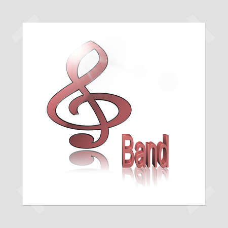 Band Music - 3D illustration, 3D Rendering: symbol image for music, entertainment and culture Фото со стока