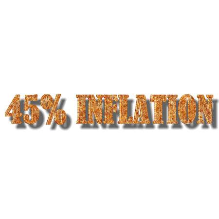 3D illustration, 3D Rendering: 45% inflation, symbol image for price increase, depreciation