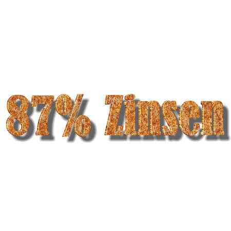3D illustration, 3D Rendering: 87% interest, symbol image of investment, interest income