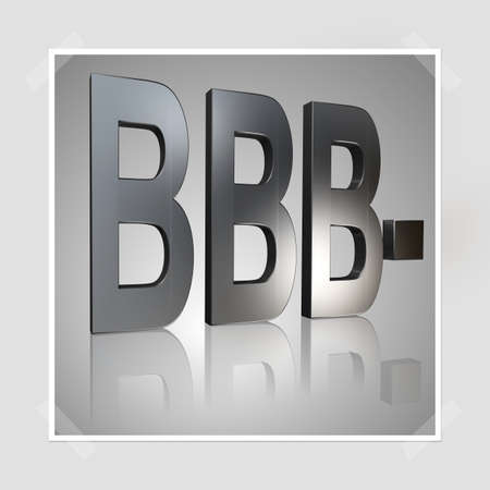3D Illustration, 3D Rendering: rating or rating code for assessing the creditworthiness of a debtor; Code BBB-