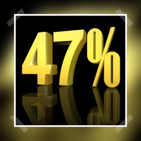 3D illustration, 3D Rendering: 47%, symbol image for investments, interest, discount, profit