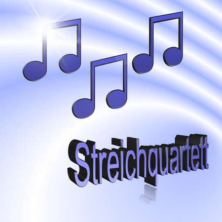 String Quartet Music - 3D illustration, 3D Rendering: symbol image for music, entertainment and culture