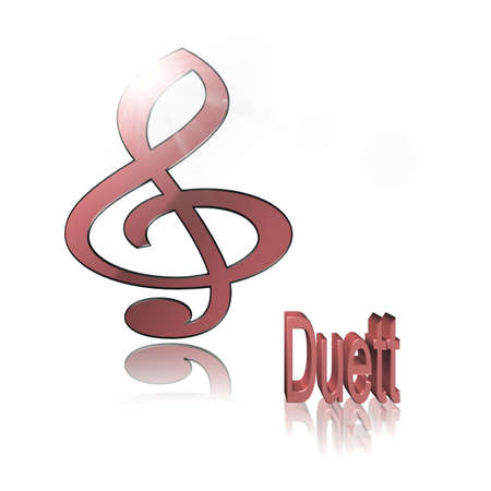 Duet Music - 3D illustration, 3D Rendering: symbol image for music, entertainment and culture Фото со стока