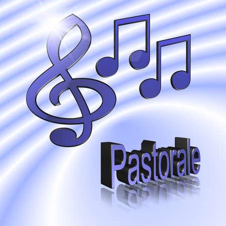 Pastoral Music - 3D illustration, 3D Rendering: symbol image for music, entertainment and culture 版權商用圖片