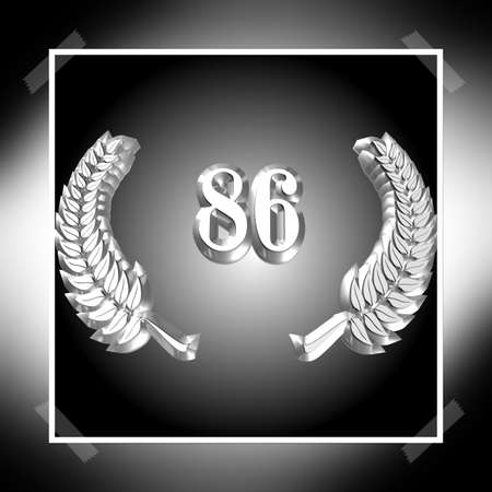3D Illustration, 3D Rendering: A laurel wreath with the number 86, symbol image for a jubilee, anniversaries, successes 写真素材