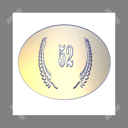 3D Illustration, 3D Rendering: A laurel wreath with the number 52, symbol image for a jubilee, anniversaries, successes