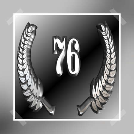 3D Illustration, 3D Rendering: A laurel wreath with the number 76, symbol image for a jubilee, anniversaries, successes