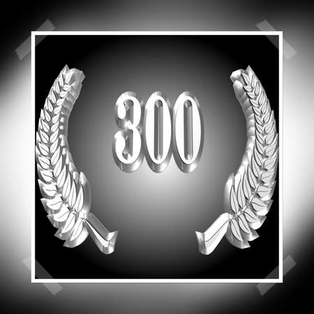 3D Illustration, 3D Rendering: A laurel wreath with the number 300, symbol image for a jubilee, anniversaries, successes