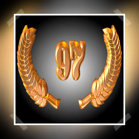 3D Illustration, 3D Rendering: A laurel wreath with the number 97, symbol image for a jubilee, anniversaries, successes
