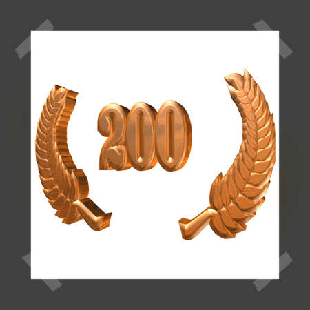 3D Illustration, 3D Rendering: A laurel wreath with the number 200, symbol image for a jubilee, anniversaries, successes 写真素材