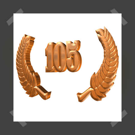 3D Illustration, 3D Rendering: A laurel wreath with the number 105, symbol image for a jubilee, anniversaries, successes 写真素材