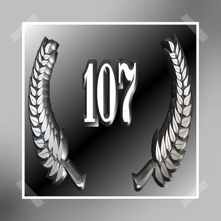 3D Illustration, 3D Rendering: A laurel wreath with the number 107, symbol image for a jubilee, anniversaries, successes