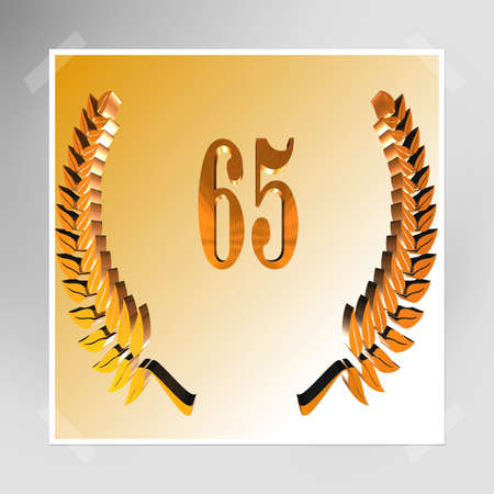 3D Illustration, 3D Rendering: A laurel wreath with the number 65, symbol image for a jubilee, anniversaries, successes