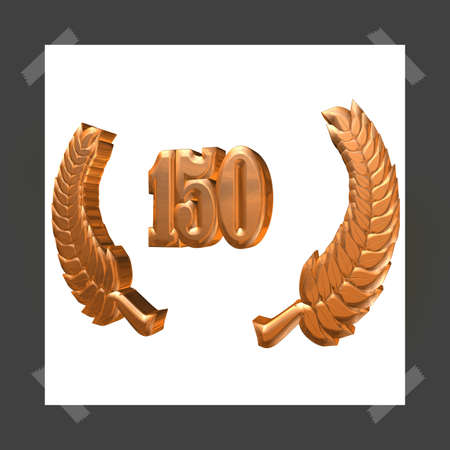 3D Illustration, 3D Rendering: A laurel wreath with the number 150, symbol image for a jubilee, anniversaries, successes 写真素材