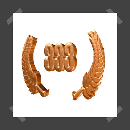 3D Illustration, 3D Rendering: A laurel wreath with the number 333, symbol image for a jubilee, anniversaries, successes