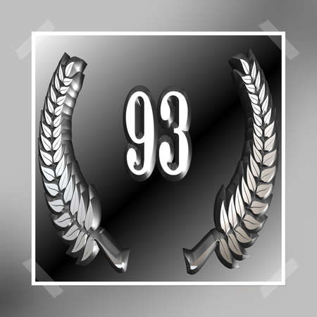 3D Illustration, 3D Rendering: A laurel wreath with the number 93, symbol image for a jubilee, anniversaries, successes