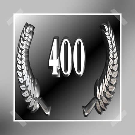 3D Illustration, 3D Rendering: A laurel wreath with the number 400, symbol image for a jubilee, anniversaries, successes