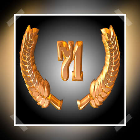 3D Illustration, 3D Rendering: A laurel wreath with the number 71, symbol image for a jubilee, anniversaries, successes