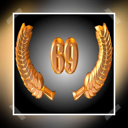 3D Illustration, 3D Rendering: A laurel wreath with the number 69, symbol image for a jubilee, anniversaries, successes