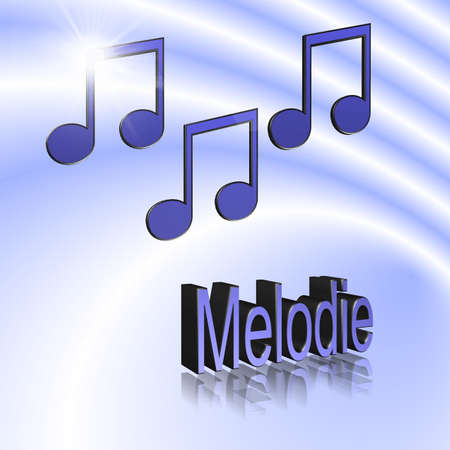 Melody - 3D illustration, 3D Rendering: symbol image for music, entertainment and culture