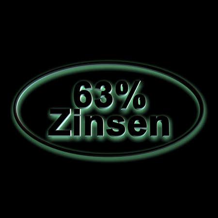 3D illustration, 3D Rendering: 63% interest, symbol image of investment, interest income