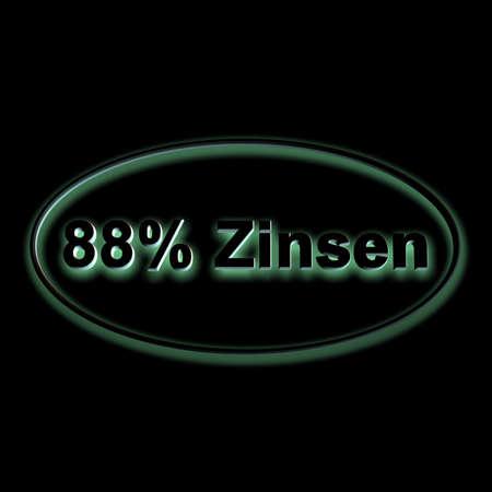 3D illustration, 3D Rendering: 88% interest, symbol image of investment, interest income