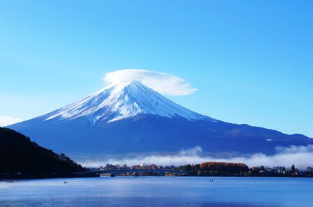 kawaguchi ko: Mt. Fuji scene at Kawakuchi Lake Stock Photo