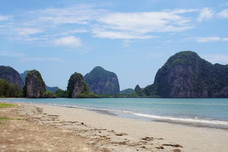 moutains: Beautiful Beach with moutains and island view at Trang southern ofThailand
