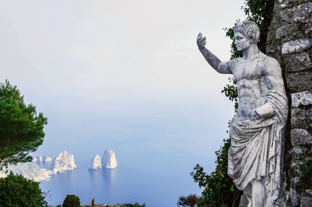 augustus: Statue of Emperor Augustus on a top of Monte Solaro ,mountain on the island of Capri in Italy.