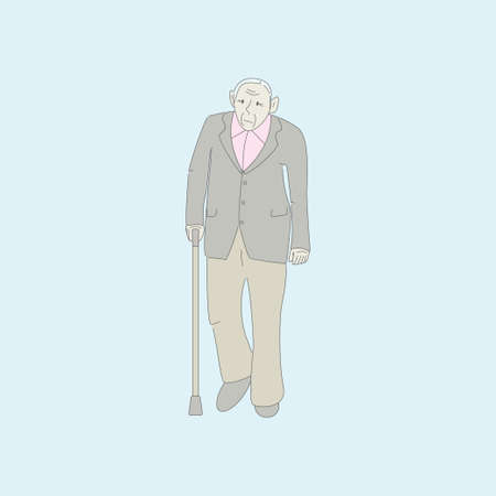 Old man walks with a stick. Active old man. Healthy old man who cares for himself. Doodle design. Vector design illustration. Illustration