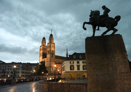 Great Minster church (Grossmunster) and Hans Waldmann monument, Zurich, Switzerland
