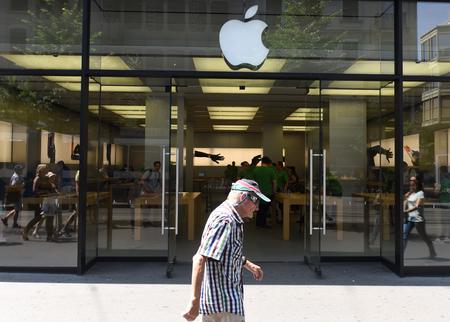 adelaide: Zurich, Switzerland -  June 03, 2017: Apple store on the Bahnhofstrasse street in Zurich.