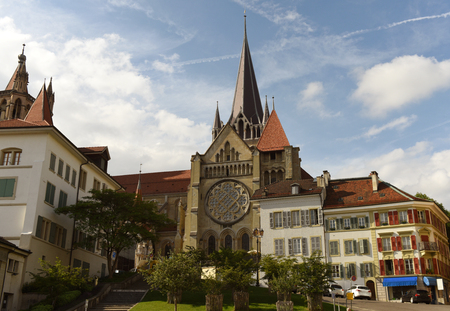 lake district: The Cathedral of Notre Dame in Lausanne, Switzerland