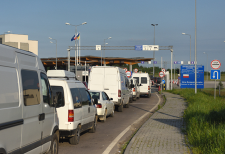 elimination: Hrushiv, Ukraine - May 31, 2017: Hrushiv-Budomezh checkpoint on the border with Ukraine and Poland some 60kms from city of Lviv. Editorial