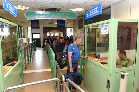 elimination: Medyka, Poland - June 11, 2017: Medyka-Shegyni checkpoint on the border with  Poland and Ukraine and some 15kms from Poland city of Przemysl.