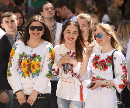 LVIV, UKRAINE - MAY 18, 2017: People wearing Vyshyvanka,(traditional Ukrainian embroidered blouses), during world celebration Vyshyvanka Day in Lviv, Ukraine. Editorial