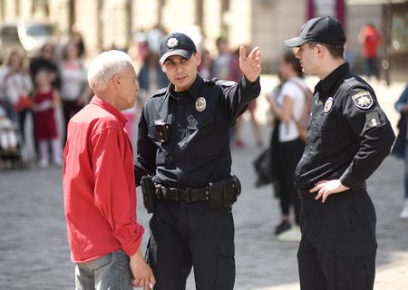 Lviv, Ukraine - May 6, 2017: A policemen in center of Lviv, Ukraine Editorial