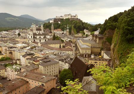 wolfgang: Salzburg cityscape  with fortress Hohensalzburg, Austria Stock Photo