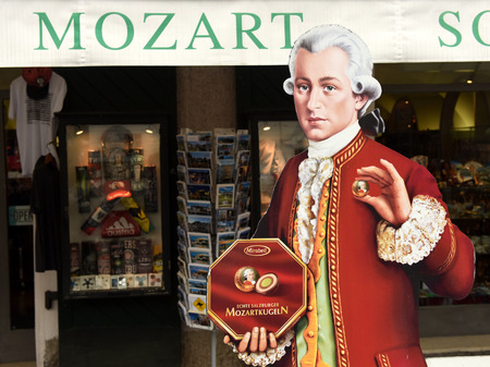Salzburg, Austria - 2 June, 2017: Mozart figure near souvenir shop in Salzburg.