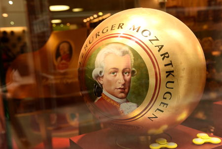Salzburg, Austria - 2 June, 2017: Mozart sweets and souvenirs stores in Salzburg.