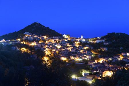 Lastovo old town at night, Lastovo island, Croatia Banco de Imagens