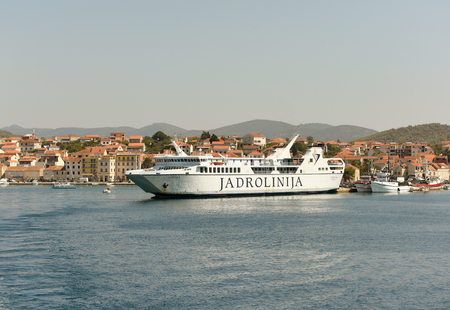 Vela Luka, Croatia - August 19, 2017: Ferry Jadrolinija in port of Vela Luka on island Korcula, Croatia. Editorial
