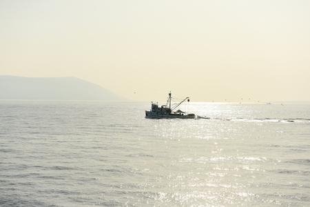 trawl: fishing boat in the Mediterranean Sea Stock Photo