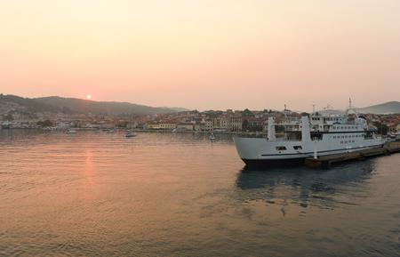 Sunrise in port of Vela Luka on island Korcula, Croatia. Stock Photo