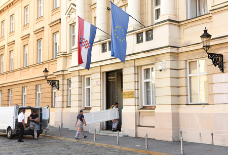 Zagreb, Croatia - August 18, 2017: The Croatian Parliament building (Hrvatski sabor) in Zagreb. Éditoriale