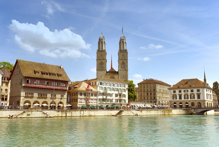 Zurich cityscape with Great Minster church (Grossmunster), Zurich, Switzerland